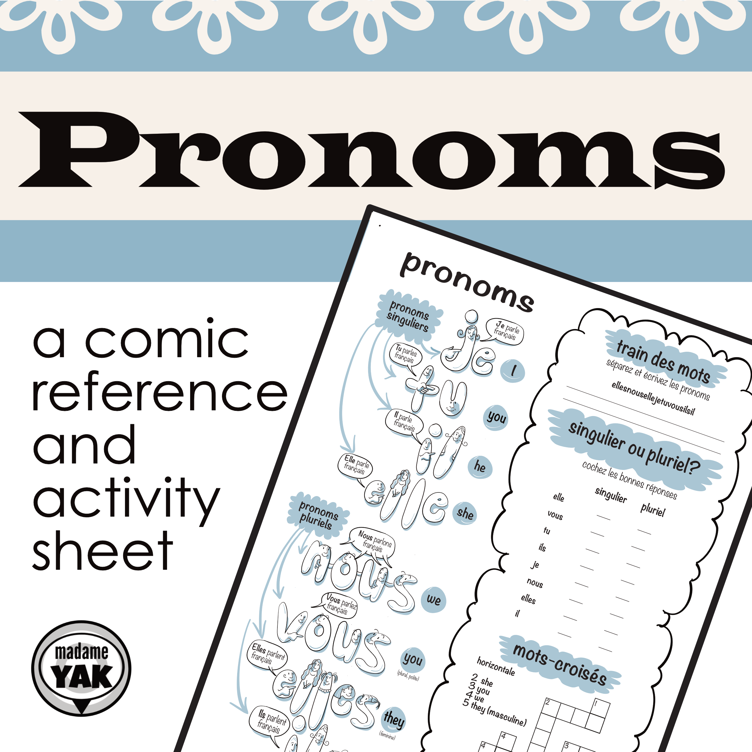 Pronoms French Pronouns Comic Vocabulary Builder
