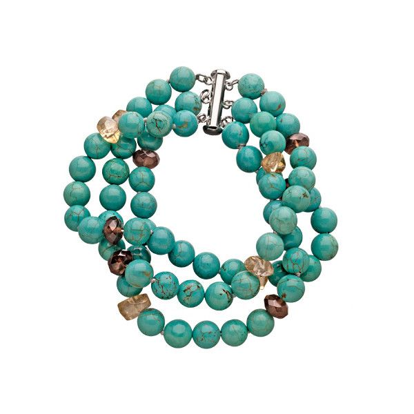M Pearl Beaded Turquoise Bracelet ($99) ❤ liked on Polyvore