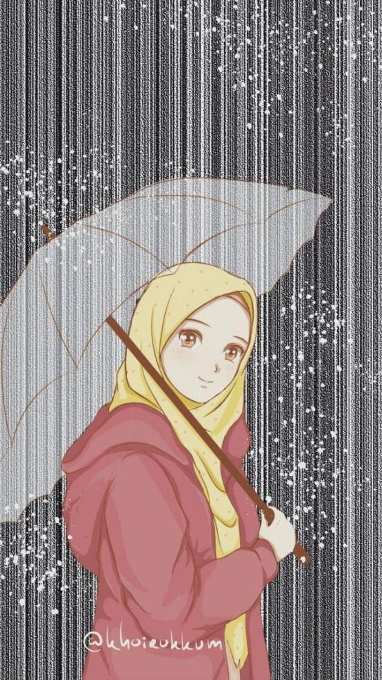 Anime Wallpaper Hijab Muslimah Cute Cartoon Hijabi Gambar Kartun Ilustrasi Orang
