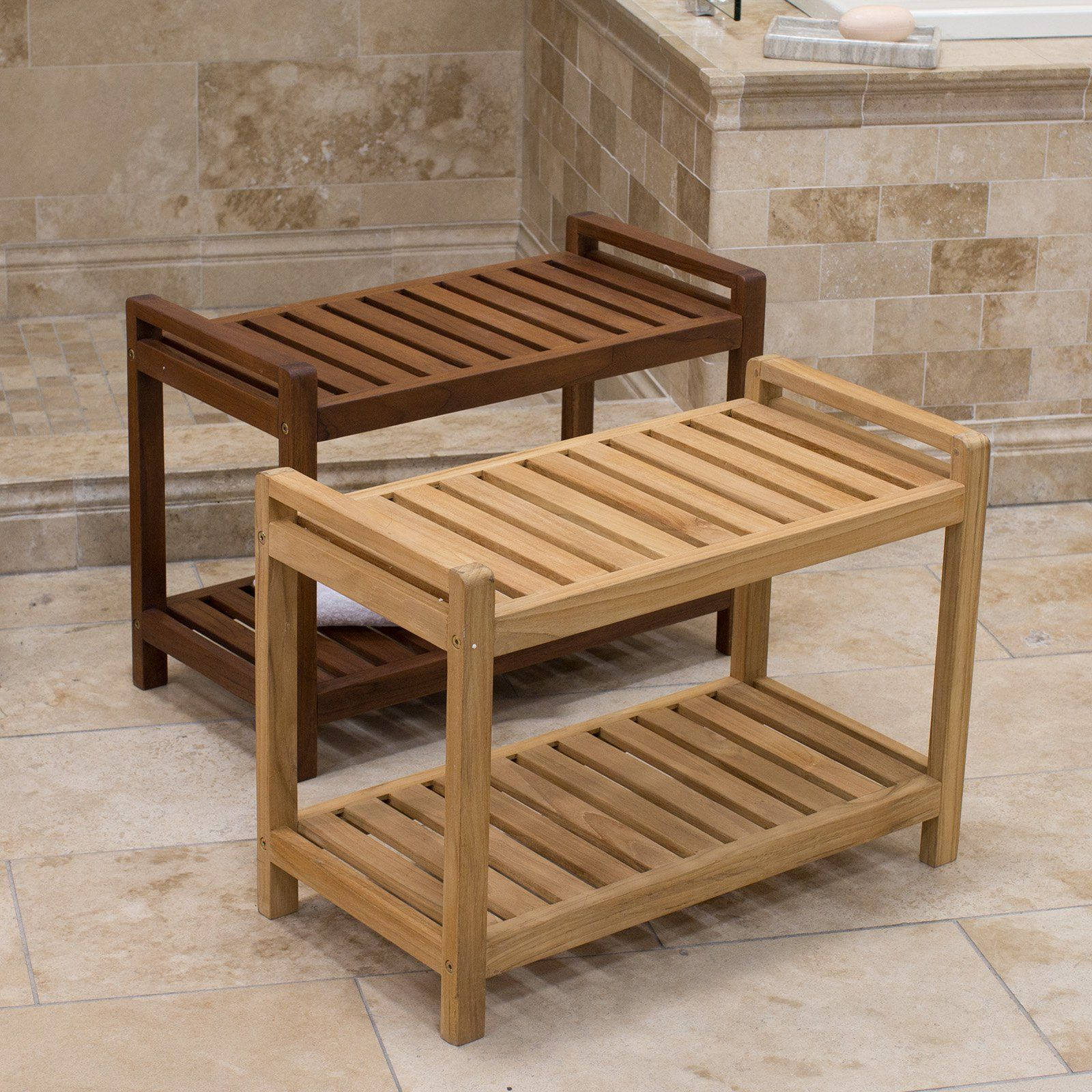 Belham Living Teak Shower Bench - Great for larger showers, the ...