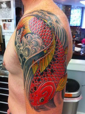 Koi tattoo by Jay Langer.
