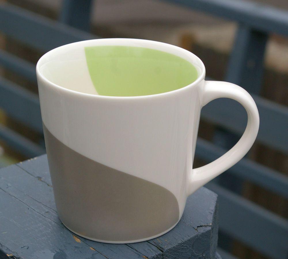 Starbucks Coffee 2005 Metallic 10oz Mug Swirl Curves Green Silver Grey Art Deco  | eBay