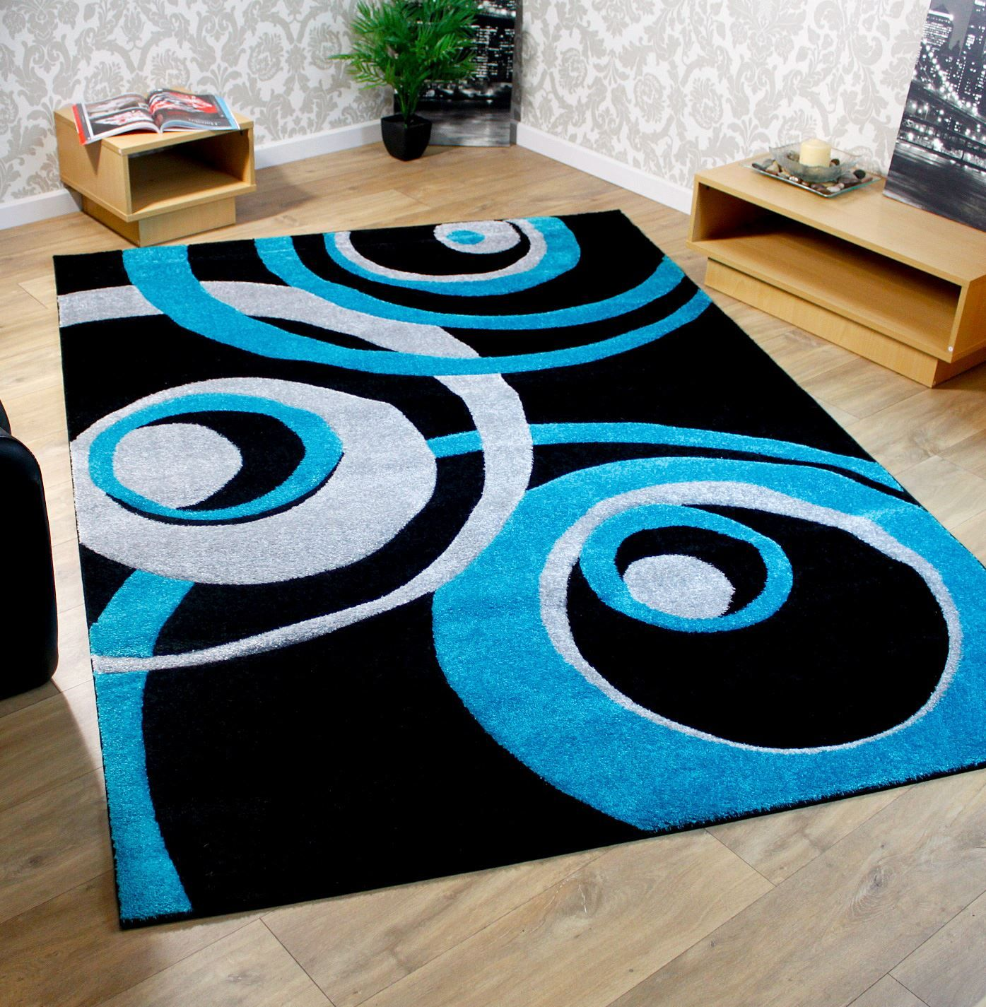 Teal And Black Rug Designs