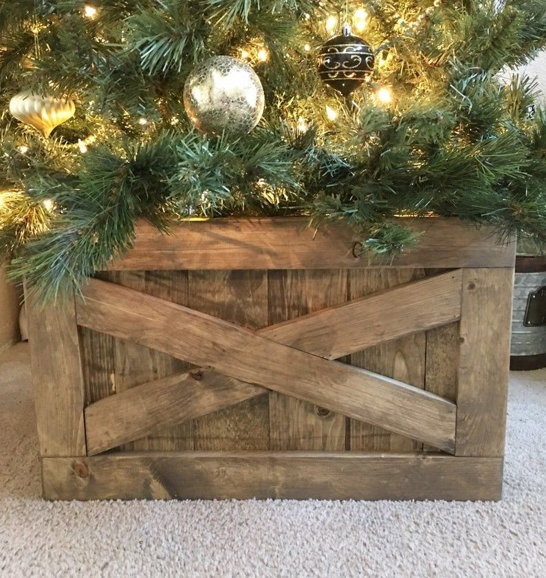 Christmas Tree Box Tree Skirt Alternative Wood Tree Box Collapsible Tree Skirt In 2020 Christmas Tree Box Christmas Tree Box Stand Tree Box