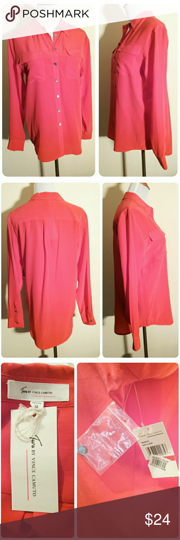 "HOLD❤NWT Two by Vince Camuto Flame Red Blouse This silky button down blouse, in tunic length, is just gorgeous in tomato red. There are two front pockets, logo buttons, and an extra button included.  It is oversized, would fit a small, and may fit a medium too. Please see the measurements.  The fabric tag is not present.   The measurements across are: bust 19 1/2"", waist  19 1/2"". The length is 26 1/2"". The back length is 28 3/4"". The arm length is 23 1/2"".  🛍 Bundle and Save More!! Two by…"