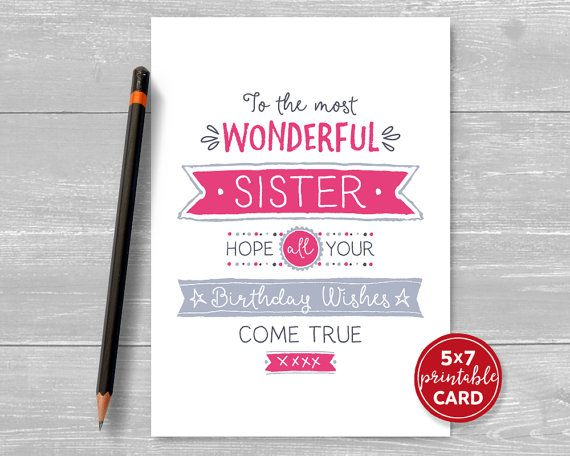 Printable Birthday Card For Sister - To The Most Wonderful Sister - printable birthday card template