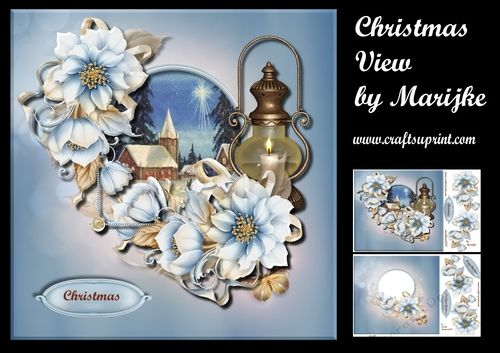 Christmas View Mini Kit By Marijke Kok Gorgeous Card Kit With Beautiful Winter Flowers Church Christmas View And A L With Images Card Kit Card Making Projects Card Making