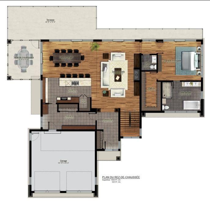 Ju0027aime lu0027aménagement salon-salle à manger-cuisine Future maison