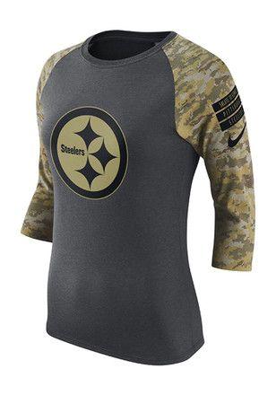 Nike Pitt Steelers Womens STS Raglan Black T-Shirt  5e9da9c47