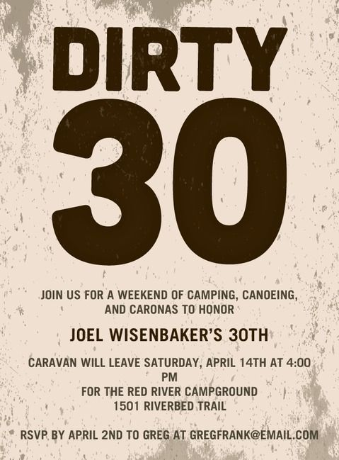 Dirty 30 Party Invitations 30th Birthday or Anniversary Pinterest