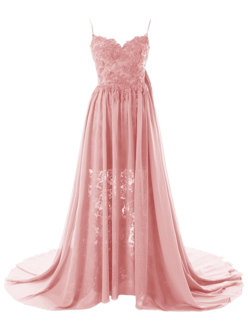 Simple aline sweetheart spaghetti straps chiffon long prom dress