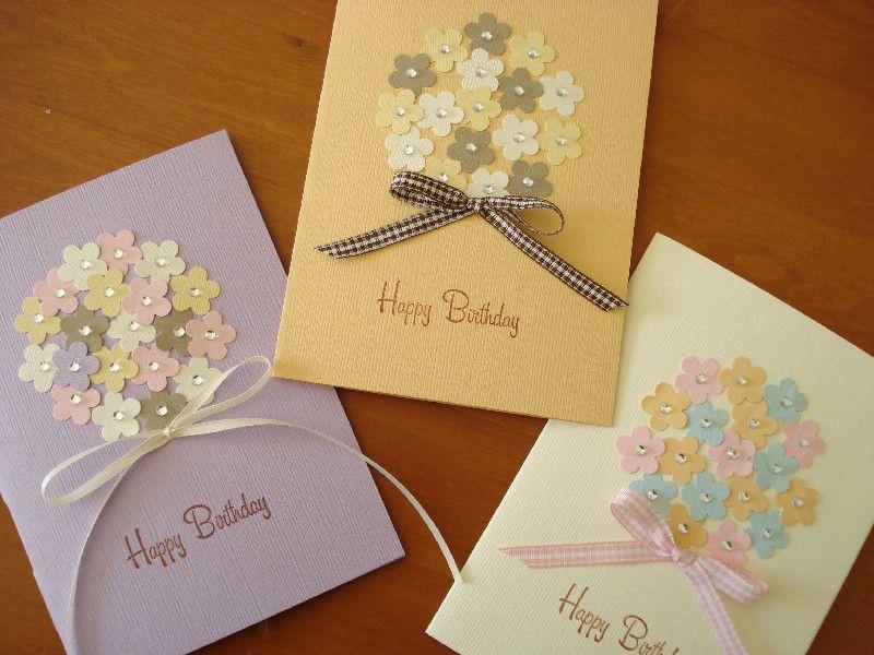 お花のクラフトパンチで花束のバースデーカード 簡単手作りカード カード 手作り バースデーカード