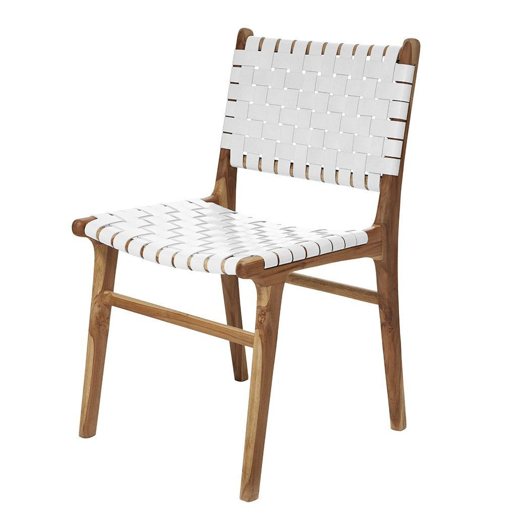 White Leather Teak Dining Chair Dining Chairs Teak Dining