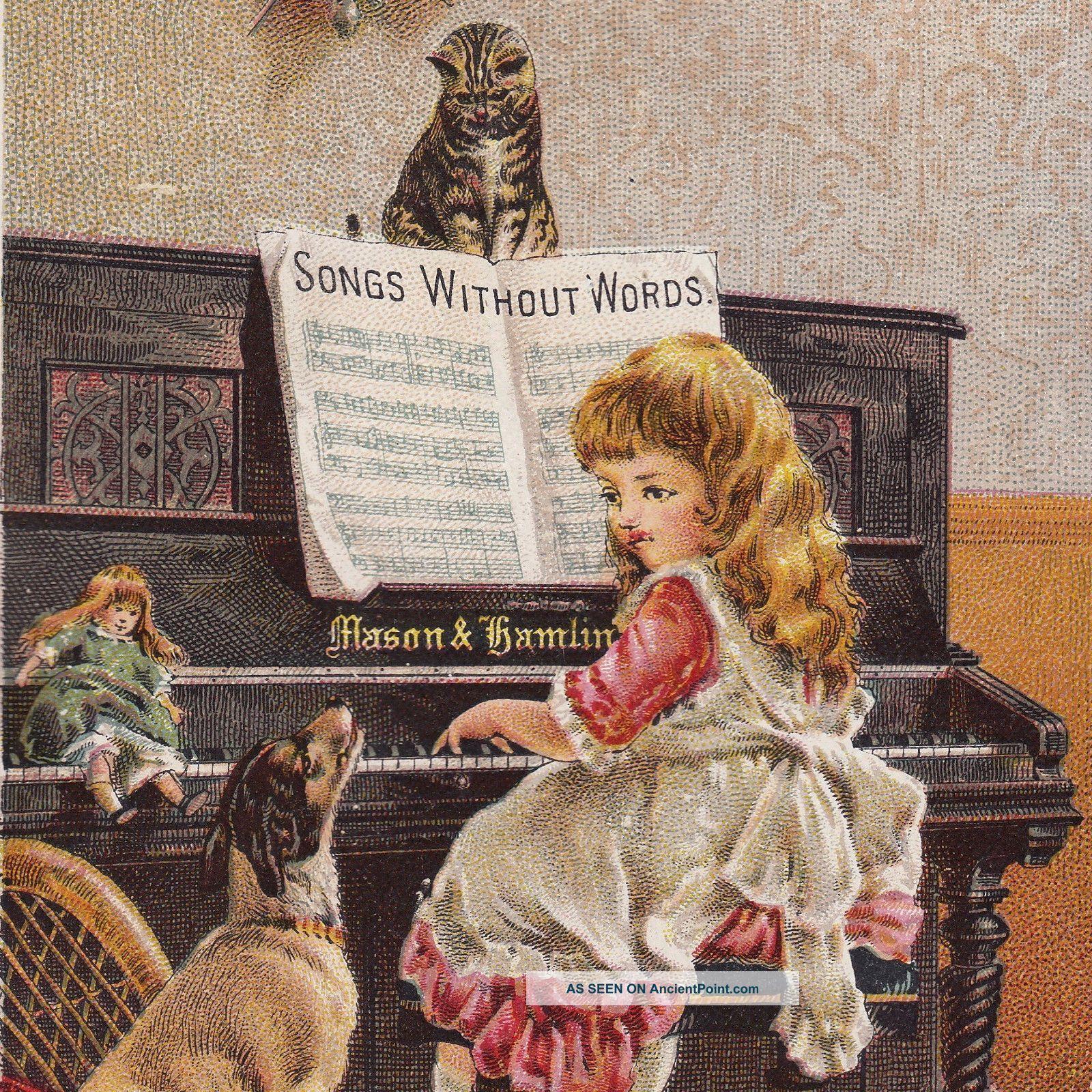 Hollowville Ny Mason & Hamlin Piano Organ Dog Cat Old Victorian Advertising Card photo