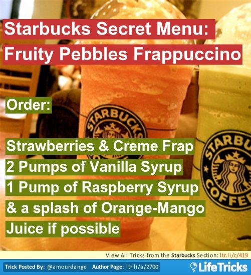 Starbucks secret menu fruity pebbles frappuccino varies for Fruity pebbles alcoholic drink