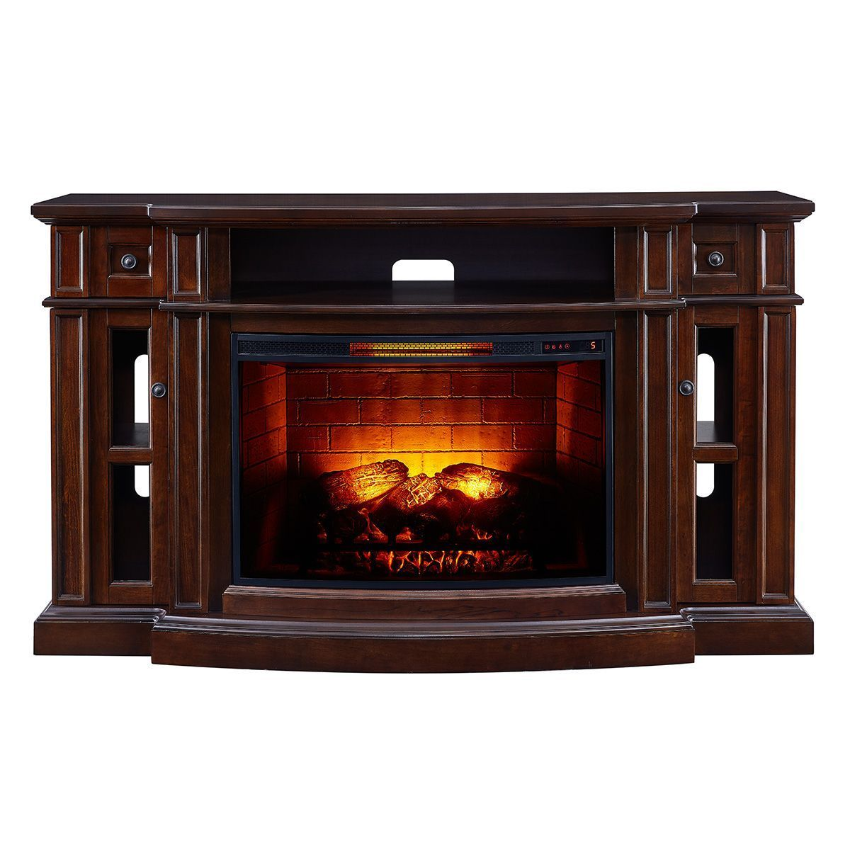 Scott Living 68 In W Chestnut Infrared Quartz Electric Fireplace