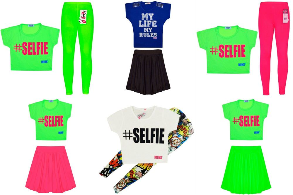 58e0e36a7ac8 Girls Neon Dress Top Skirt Leggings Kids Party Dresses New Age 7-13 Years  Neon