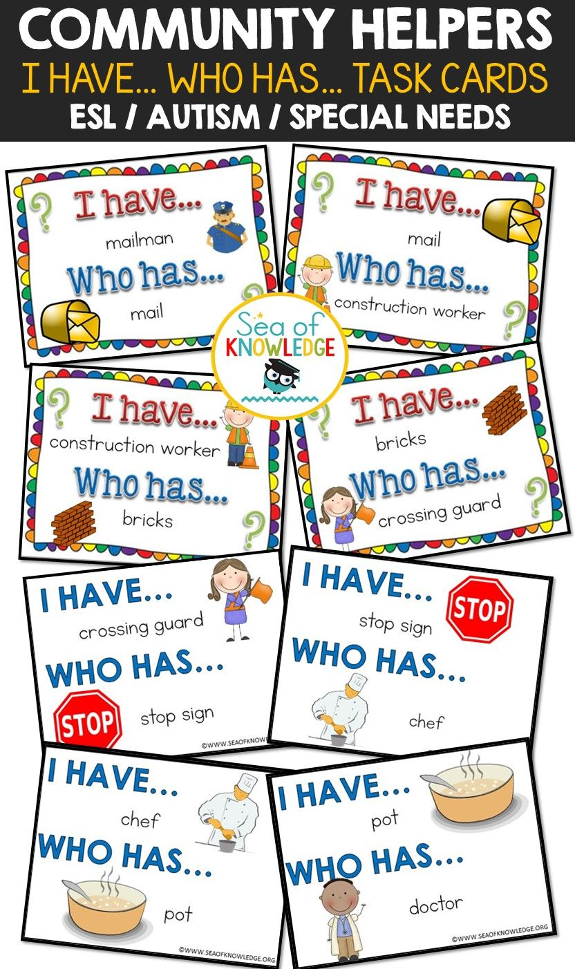 Community Helpers I Have, Who Has Game Autism Special Ed ESL ...