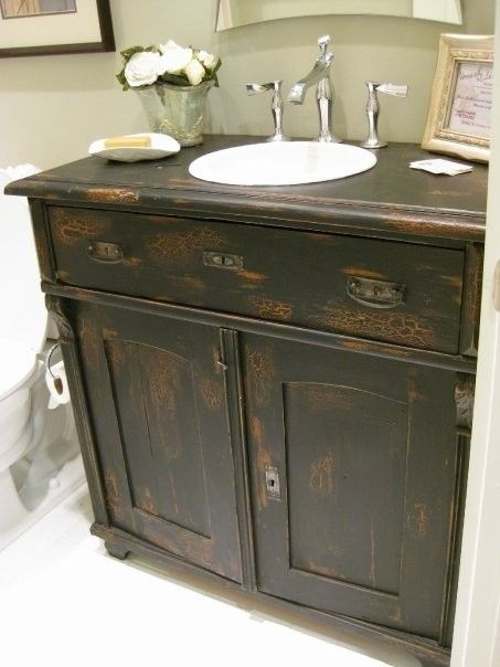 One Of Our Antique Sideboards Used As A Bathroom Vanity In A