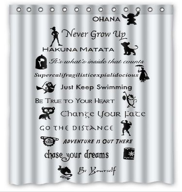 Limited Disney Quotes Bath Waterproof Shower Curtain Shower