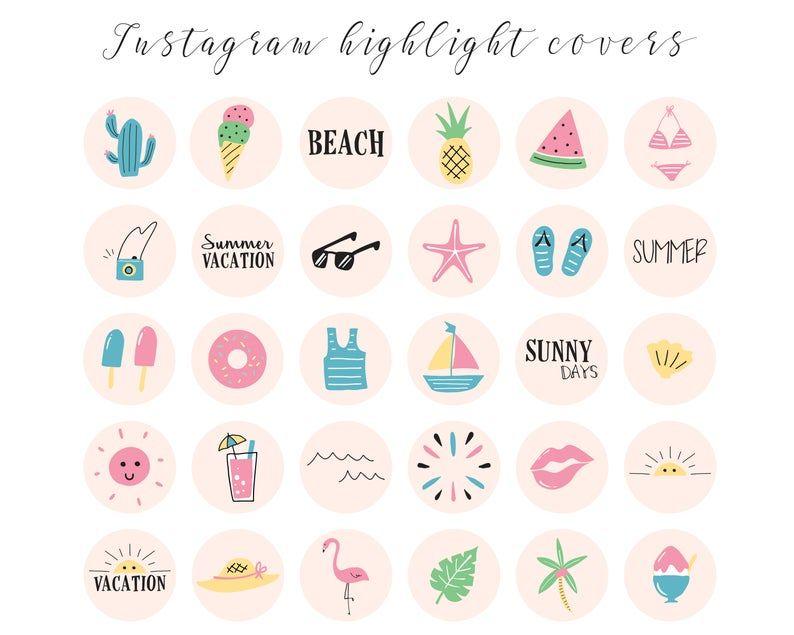 instagram highlight covers summer icons for instagram etsy in 2020 summer icon etsy instagram instagram story pinterest