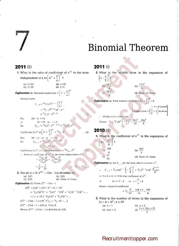 NDA Maths Previous Years Questions with Solutions Binomial Theorem ...