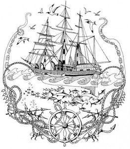 Раскраски для взрослых | Раскраски, Рисунок корабля, Рисунки