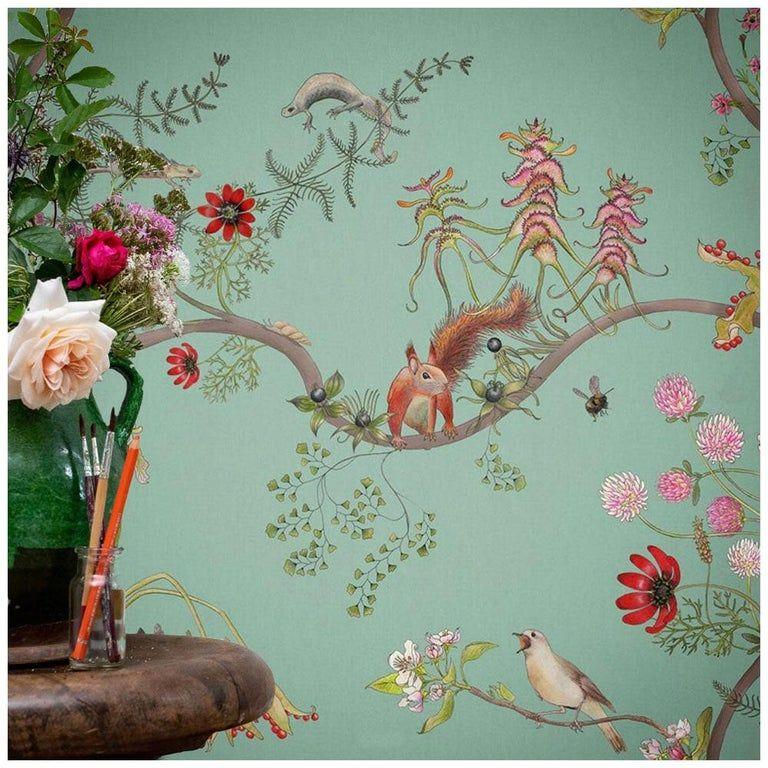 Mercia Vines In Verdigris Botanical Birds And Bees Wallpaper Wallpaper Vines Art