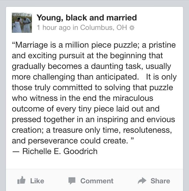 Marriage quotes from Young, Black and Married on Facebook