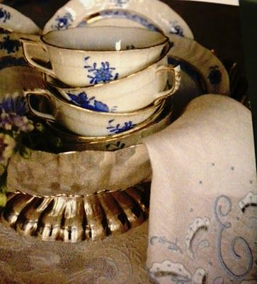 E, and blue and white china. Two of my favorite things. My mother gave me a hankie similar to the napkin for my wedding day.