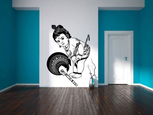 Krishna Wall Sticker Hindu Greeting Decal God Stencil Living Room Art Gift