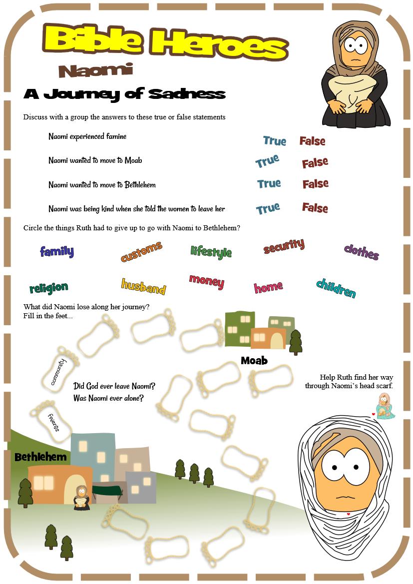 worksheet for naomi ruth 1 from jesuswithoutlanguage kids