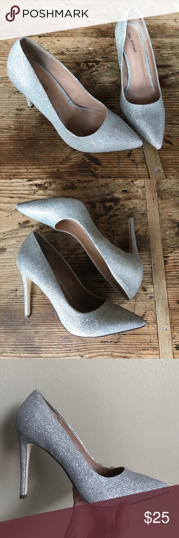 72ec276e0a750 Call it Spring silver sparkly heels size 9 Gorgeous and ready for Prom or  any dressy