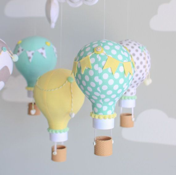 Gender Neutral Baby Mobile Hot Air Balloon by sunshineandvodka
