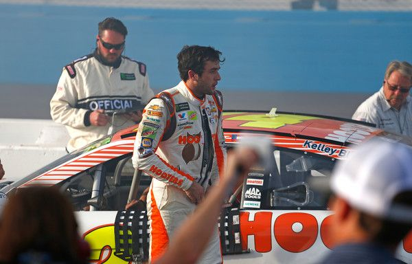Chase Elliott, driver of the #24 Hooters Chevrolet, exits his car after finishsing the Monster Energy NASCAR Cup Series Can-Am 500 at Phoenix International Raceway on November 12, 2017 in Avondale, Arizona.