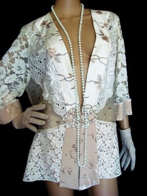 9ab0b61d1c3 SPENCER ALEXIS Lace Embroidered Lattice Sheer ivory JACKET 1X in ...