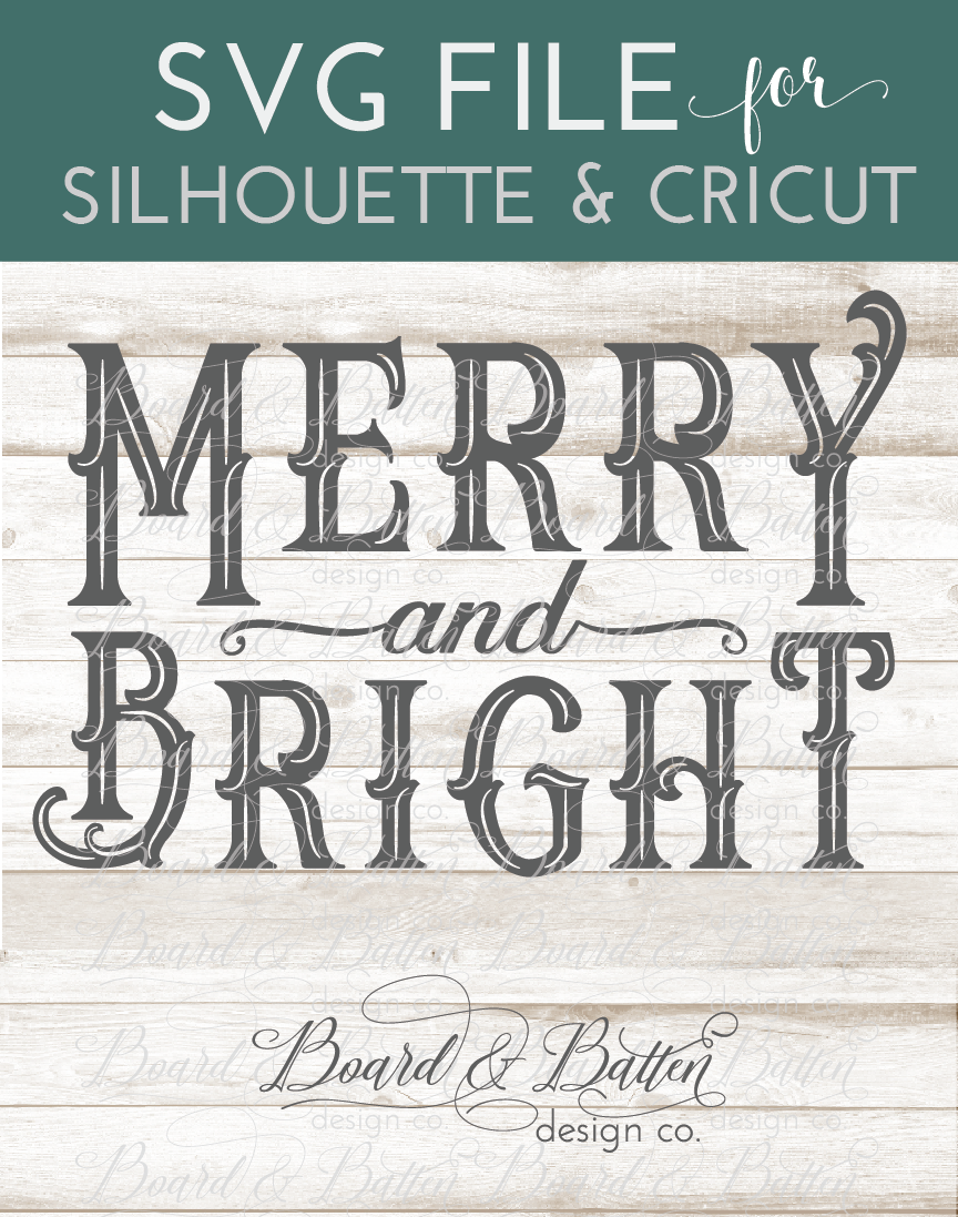 Vintage Sign Merry and Bright SVG File Commercial use