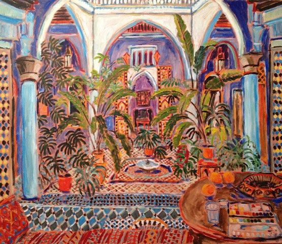 #painting #tangiers #morocco #tanger #maroc  A  Courtyard in the Casbah 1992 by damianelwes