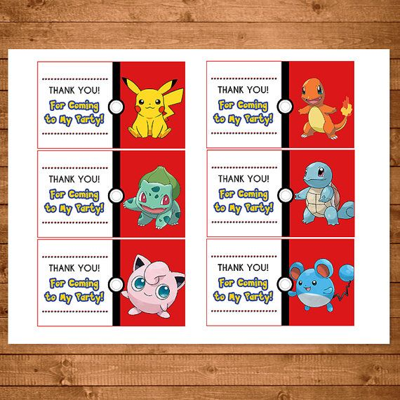 Pokemon Goody Bag Tags Red & White
