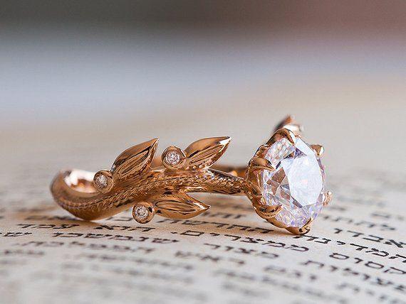 Unique Engagement Ring Rose Gold, Victorian Engagement Ring, Diamond Leaves Moissanite Ring, Floral Ring, 14K, 18K, Vintage Inspired Flower #aquamarineengagementring
