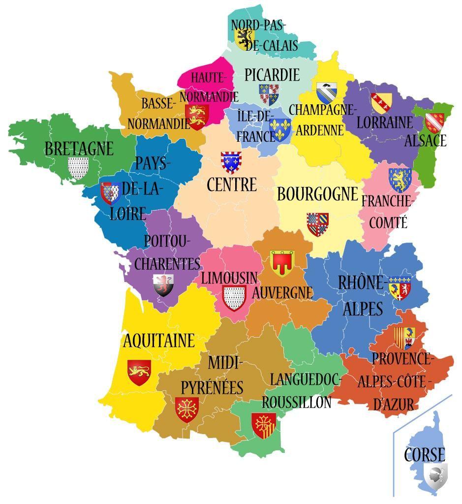 Mapa De Las Regiones Francesas Con Imagenes Ensenanza De