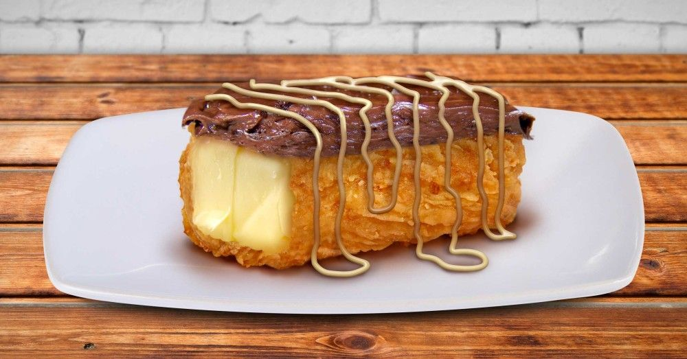 Breaded Deep Fried Chocolate Covered Butter Stick With Sweet Lard Drizzle Deep Fried Butter Fried Butter Food