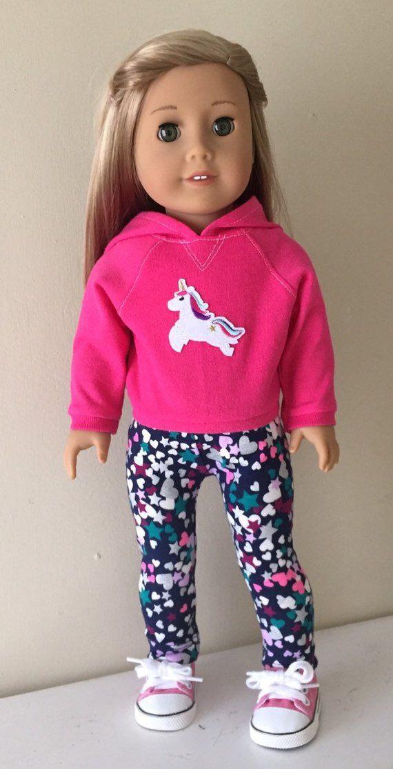 Fits American girl doll: pink hoodie with leggings and sneakers #americandolls