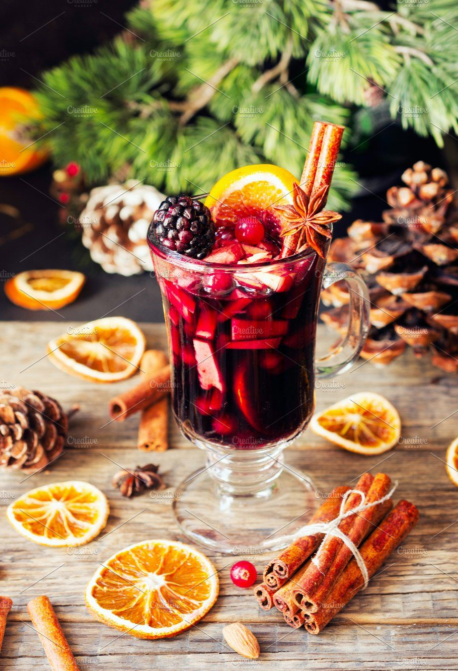 Glass Of Hot Mulled Wine For The New Year With Ingredients For Cooking Nuts And Christmas Decorations Mulled Wine Hot Winter Drinks Christmas Coffee