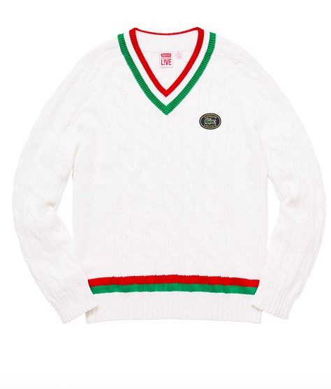 Supreme / Lacoste Tennis Sweater White Green Red XL Week 4 SS17 In ...