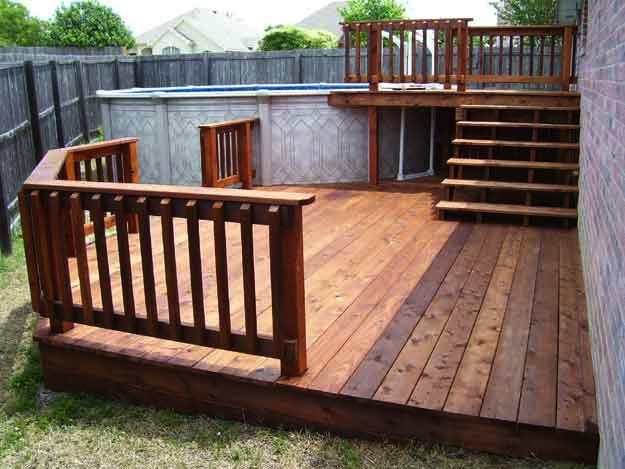 Bi Level Deck Decks Backyard Above Ground Pool Decks Swimming Pool Decks