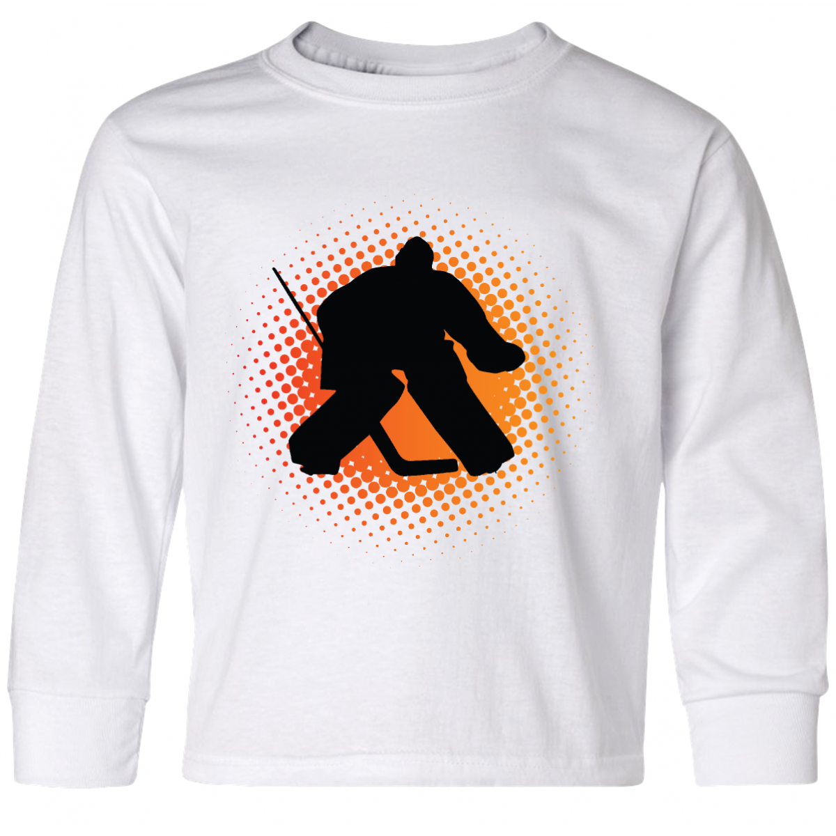 20c02ab4d Ice Hockey Goalie Sports Youth Long Sleeve T-Shirt White  17.99  www.customhockeytshirts.