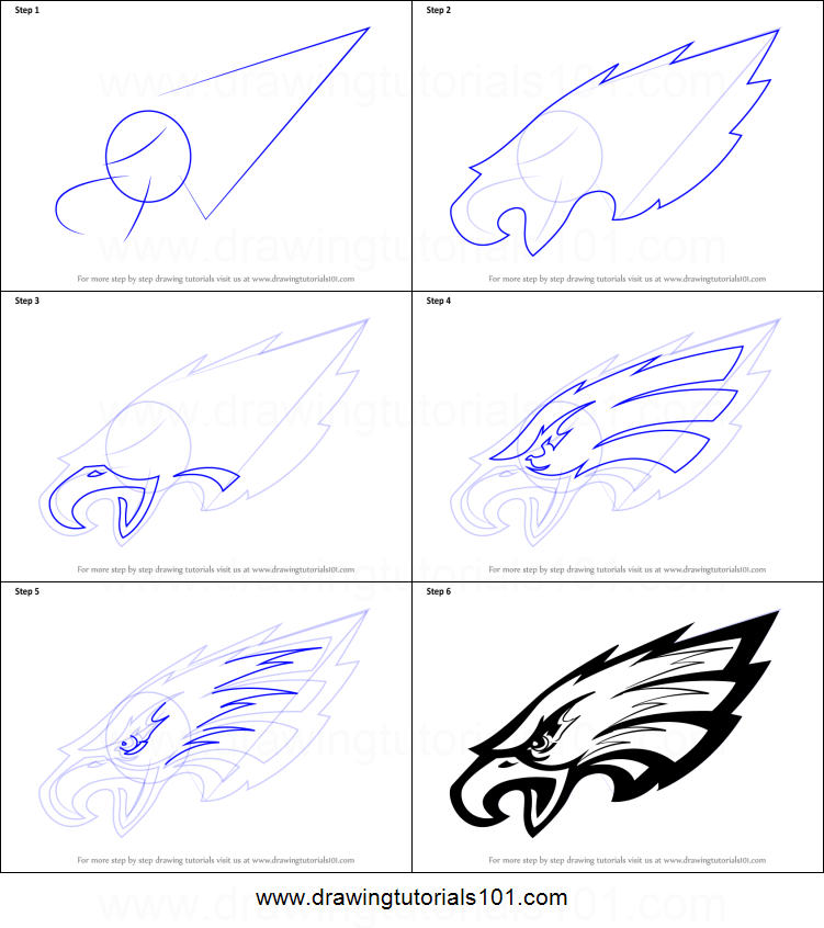 how to draw philadelphia eagles logo printable step by step drawing