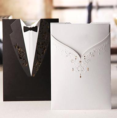 Bride & Groom wedding invitations. So cute & clever!