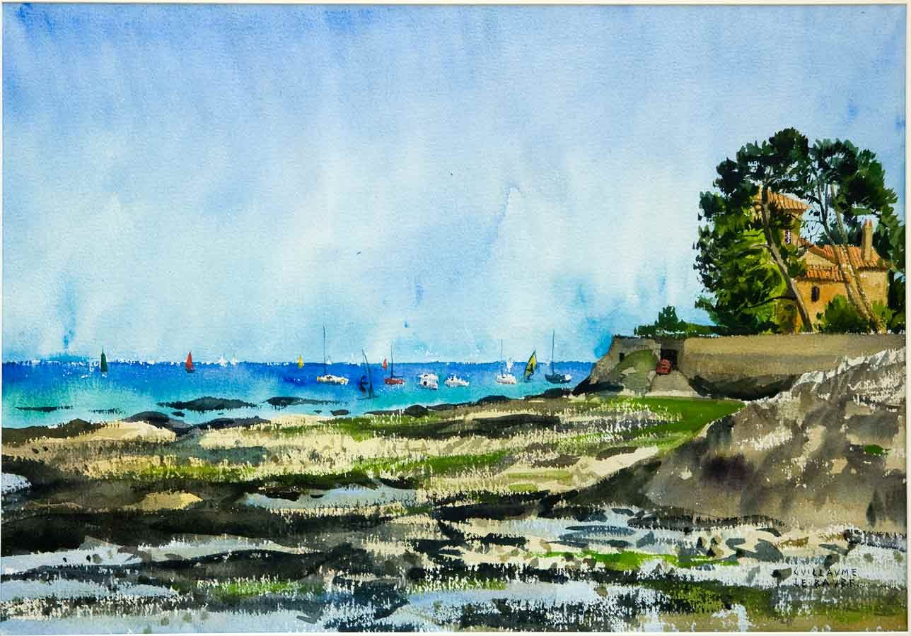 Penchateau Baie De La Baule Bretagne Peinture A L Aquarelle